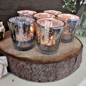 Set of 6 Fluted Glass Silver Tea Light Holder Candle Votive Wedding Decoration
