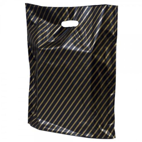 Nero e Oro a righe di plastica Carrier Bags GIOIELLI FASHION GIFT SHOP Boutique