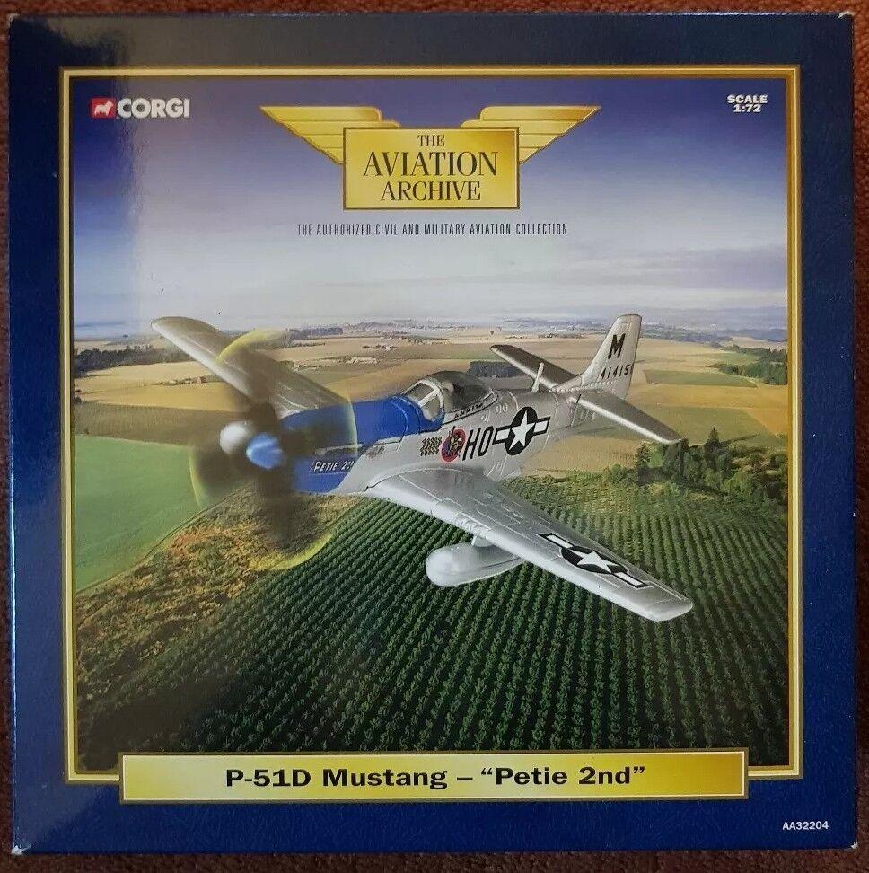 Corgi Aviation P-51D Mustang -  Petie 2nd  AA32204 1 72 NEW