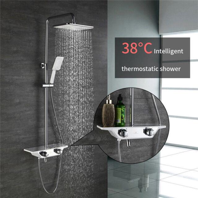 Duschsystem mit Regal Regendusche Duscharmatur Kopfbrause Duschset Bad Schwarz