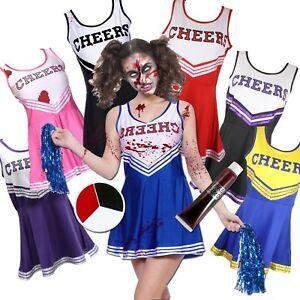 Zombie-Cheerleader-3pc-Halloween-Fancy-Dress-costume-Blood-Face-Paint-POM-POMS