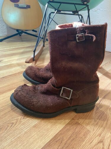 FRYE Mens Boots Raw Suede Engineer Brown Size US 9