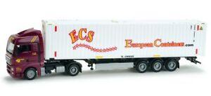 Herpa-Exclusive-Ser-H0-900928-MAN-TGX-XLX-45ft-Container-Sattelzug-ECS-rot-weiss