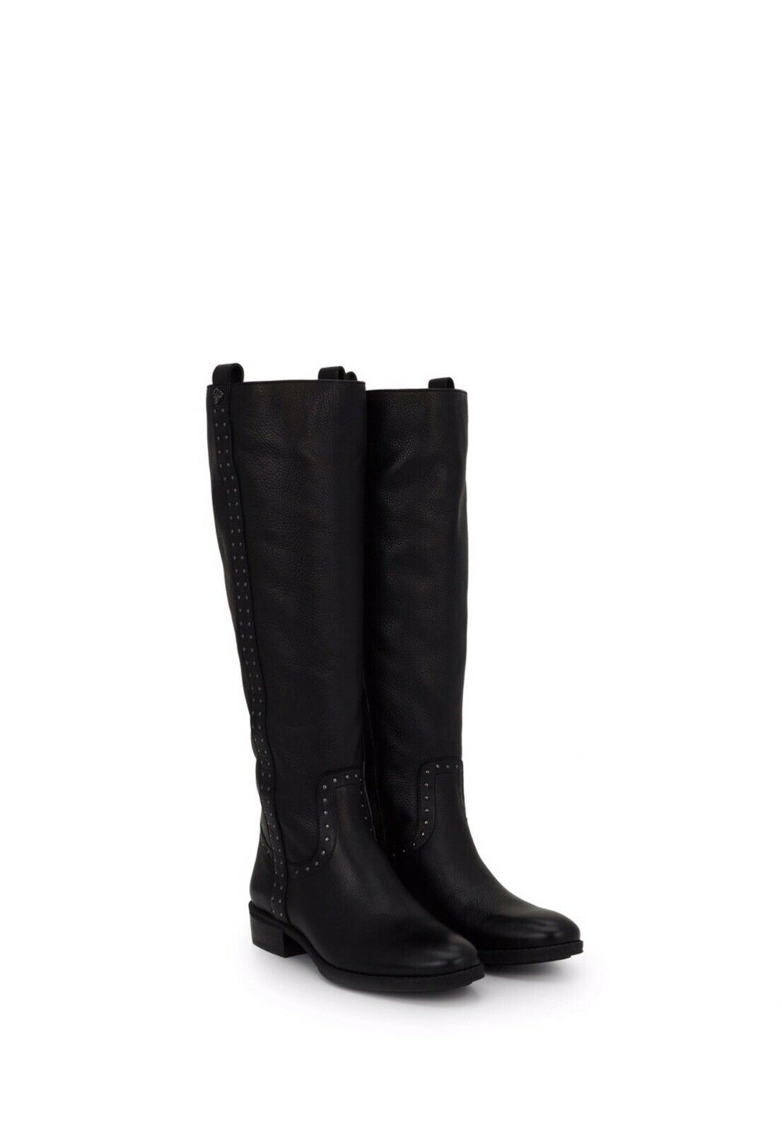 Sam Edelman Prina Leather Riding Boot Black Studded Tall Knee High Boots NEW 6