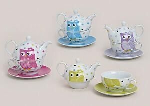 TEA-FOR-ONE-SET-Teekanne-Tasse-EULE-PUNKTE-ROSE-BLUMEN-Geschenkbox