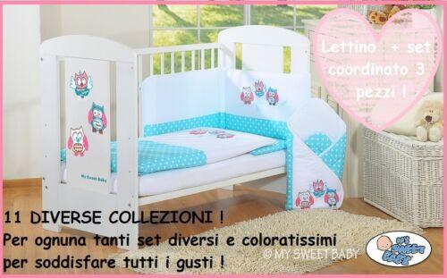 set 3 pz Lettino bimbo//culla neonato paracolpi copri cuscino copri piumino