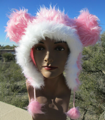 PINK MOUSE EARS ADULT HAT ski cap animal costume white furry fake fur furries