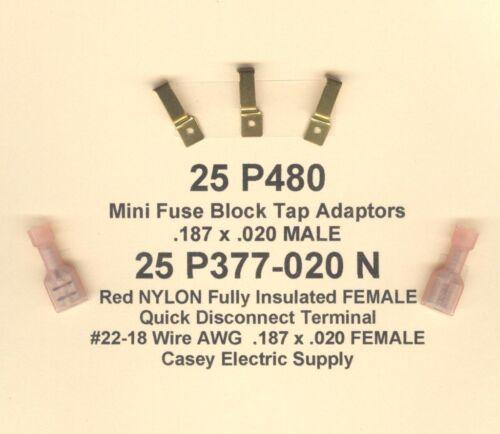 25 SETS Mini Fuse ATM Tap Adapter Automotive /& Female #22-18 Wire .187 x 020 USA