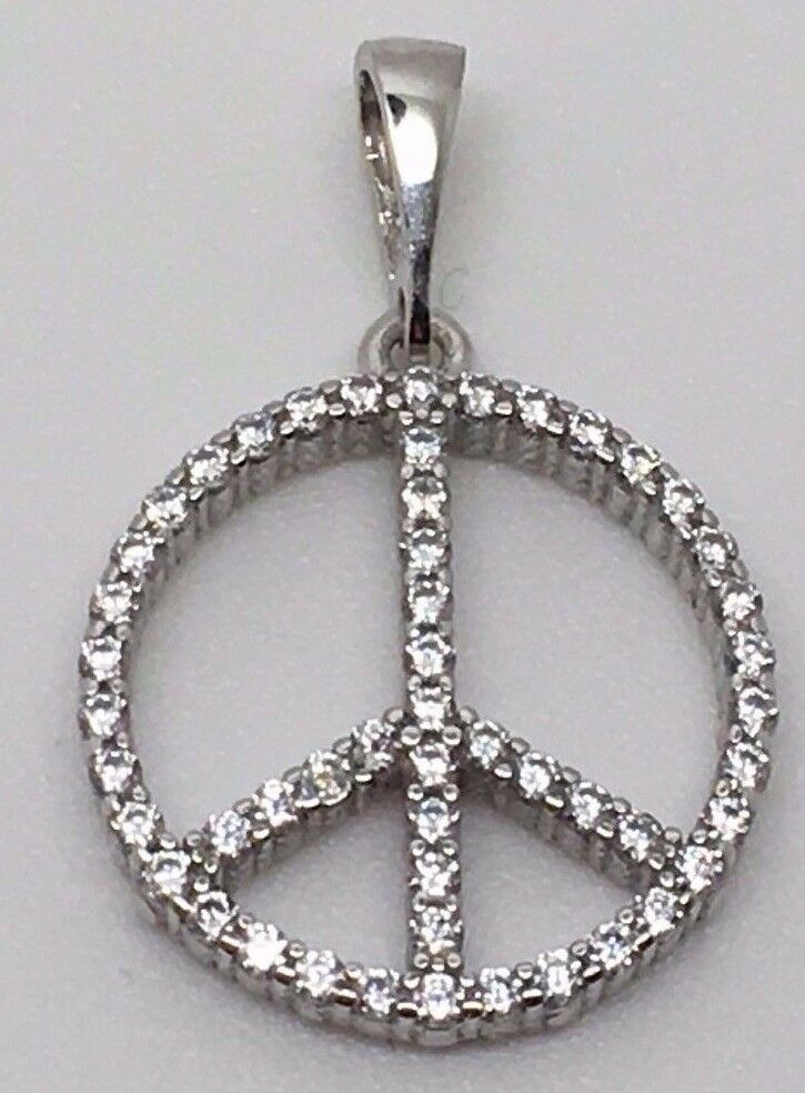 14K WHITE gold BEAUTIFUL ZIRCON PEACE SIGN CHARM PENDANT