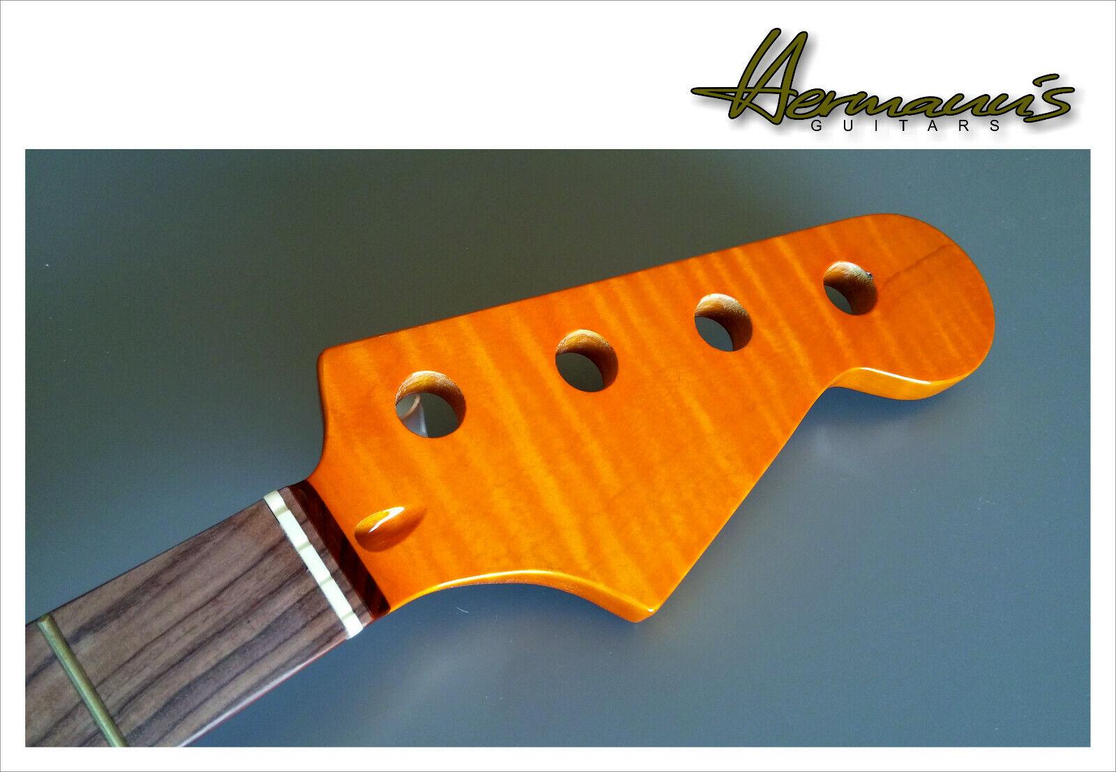 Jazz Bass Canadian Tiger Flamed Maple Neck High Quality Neck Pau Ferro Board