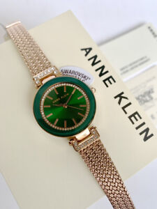 Anne Klein Watch * 1906GNRG Swarovski Green Dial Rose Gold Chain Strap for Women