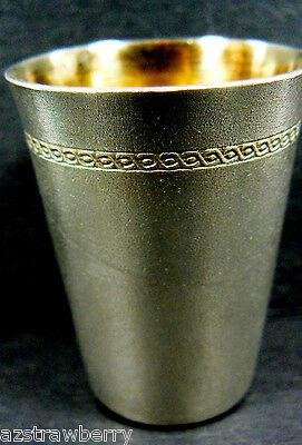 VTG USSR Russian Melchior German Silver Gold plate inside Shot Glass Marked
