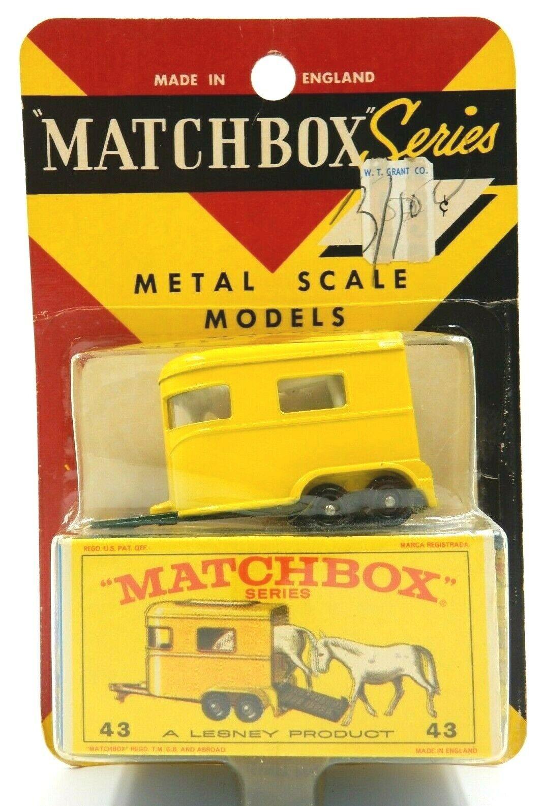 RARE SEALED 1964 Matchbox  no 43 Poney remorque à chevaux  NEUF en Blister  prix ultra bas
