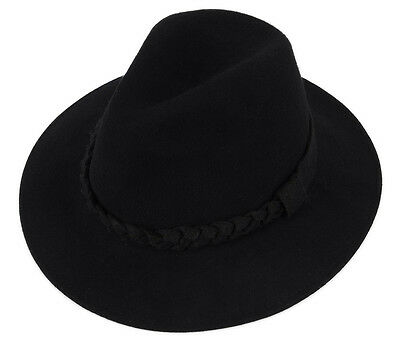New Vintage Soft Women Lady Wide Brim Wool Felt Bowler Fedora Hat Floppy Cloche