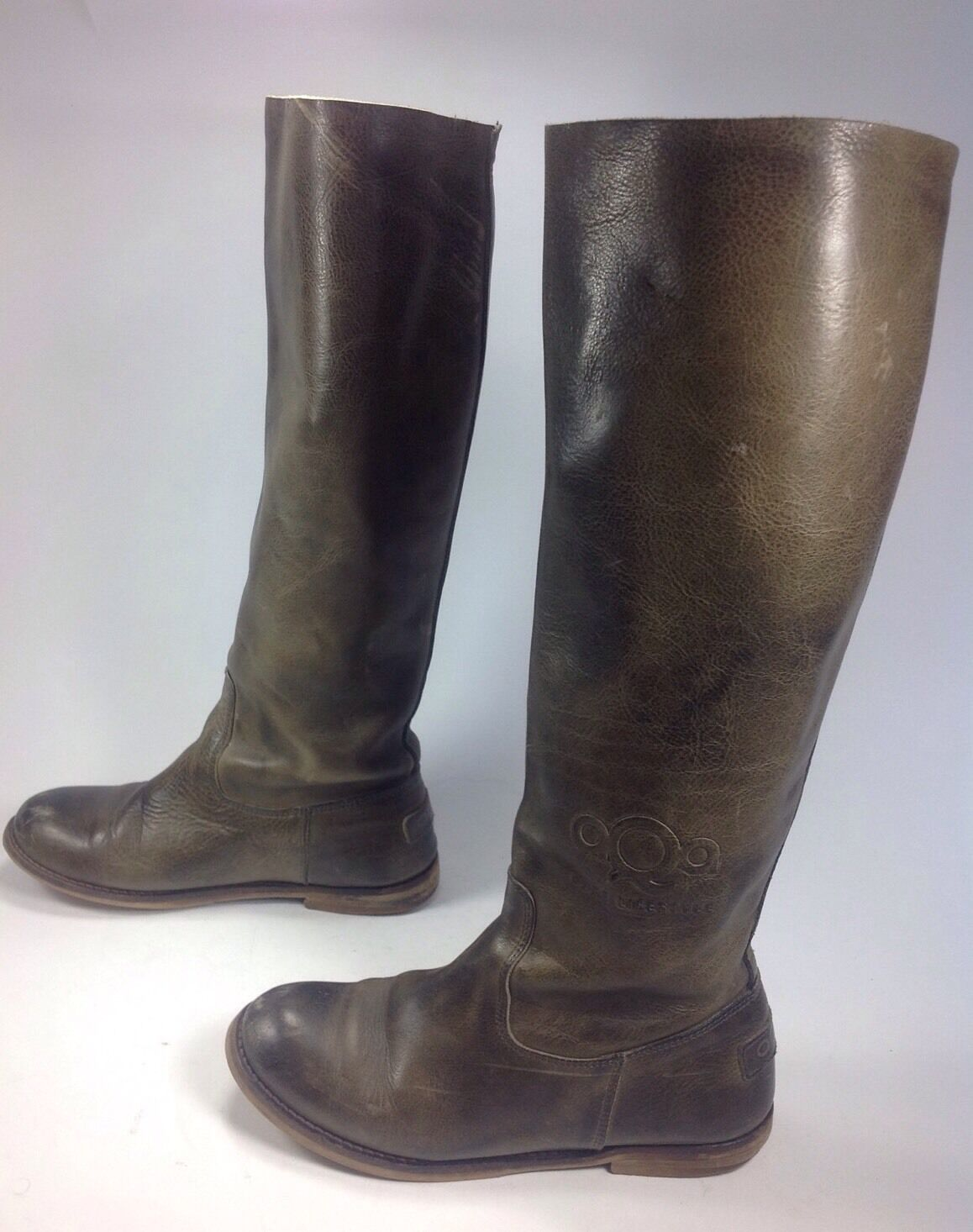 Women's AQA Pure Lifestyle Green Leather High Round Toe Riding Boots Sz.5.5