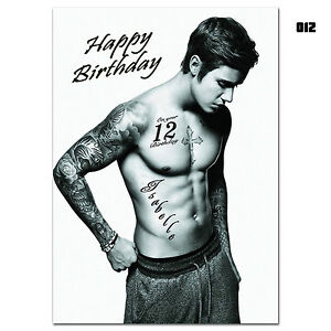 Large Personalised Birthday card; JUSTIN BIEBER; for any age name