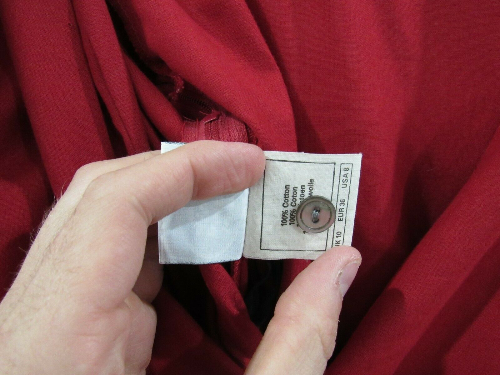 Vintage Laura Ashley 90s Red Heavy Cotton Puff Sl… - image 7
