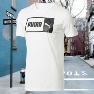 NWT-PUMA-LOGO-SPLIT-AUTHENTIC-MEN-039-S-WHITE-SHORT-SLEEVE-CREW-NECK-T-SHIRT-S-M-L