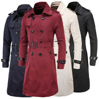 New Men's Trench Long Coat Double Breasted Peacoat Winter Jacket Parkas Overcoat