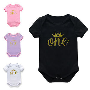 nfant Baby Boy Girl 1st Birthday Crown Romper Bodysuit Party Clothes Outfits