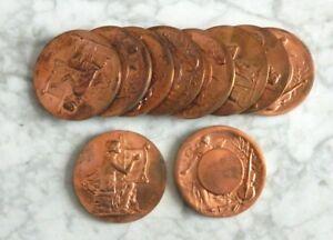 10 Medailles En Bronze Signees Motte Bon Pour AntipyréTique Et Sucette De La Gorge