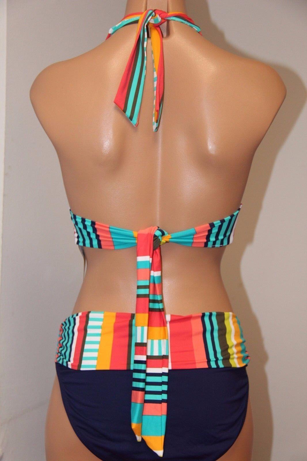 NWT Anne Cole Swimsuit Bikini 2 pc set Sz Sz Sz S M Halter Top Multi color 9c6a48