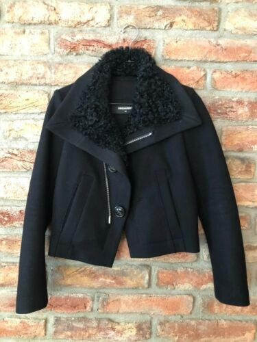 Dsquared2 wool jacket with real fur collar