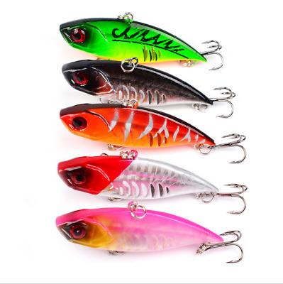 5PCS Fishing Bass Fish VIB Minnow Crankbaits lure hook baits 6.5cm//11g