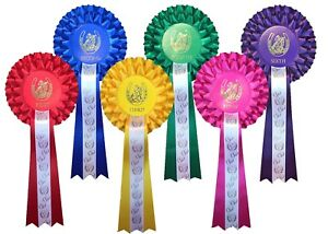 1st to 6th 3 Tier Horse or Dog Show Rosettes WITH Tail Print