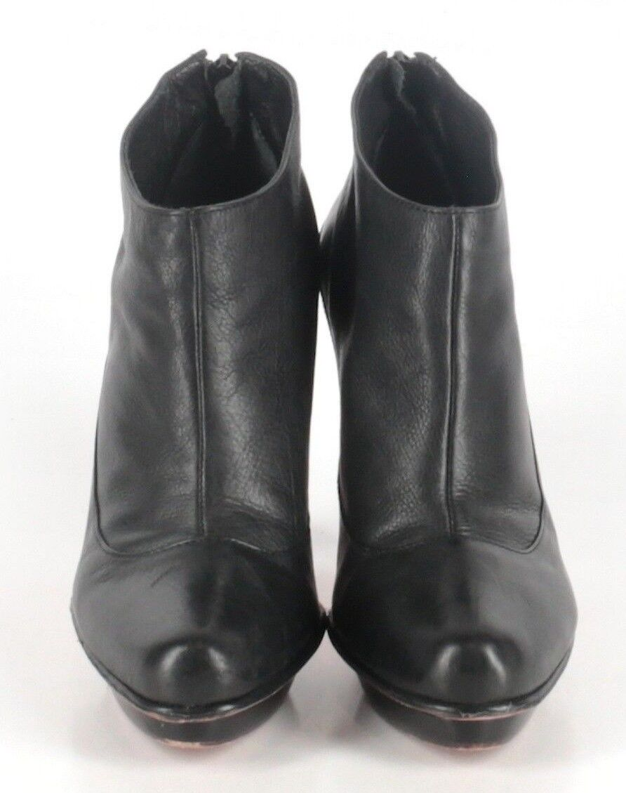 BCBG Max Azria Black Leather Bianca Ankle Booties Womens Size US 7.5M MSRP 295