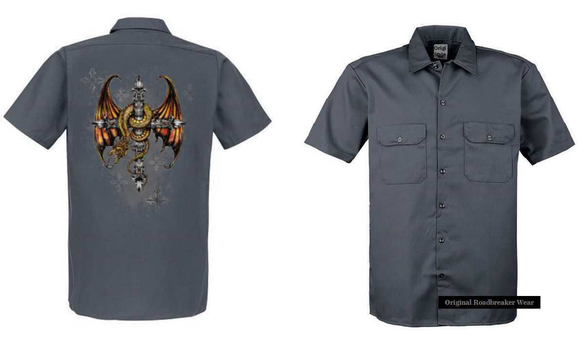 Worker Shirt Grey with a Tattoo Gothik Motif Model Dragon Cross
