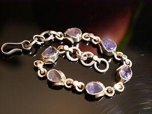 Tolles-Silber-Armband-Blaue-Steine-Tropfenform-Navette-Elegant-Vintage-Retro