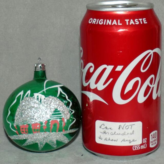 Christmas Ornament Glass Ball VTG Vintage Glitter House Snow Tree Green 2.5
