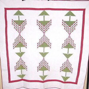 AMAZING-ANTIQUE-RED-AND-GREEN-TREE-OF-LIFE-ANTIQUE-QUILT-WELL-QUILTED-1880