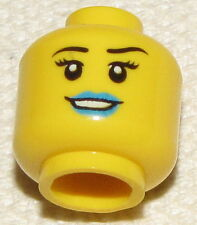 LEGO NEW MINIFIGURE HEAD FEMALE DUAL SIDED BLUE LIPS AND MASK