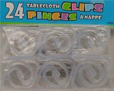 24 Clear Plastic Birthday Party Table Cloth Cover Reusable Securing Clips
