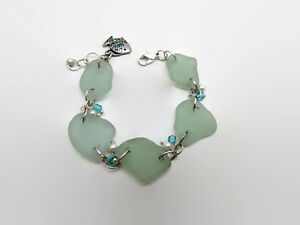 Silver-Tone-Pale-Blue-Green-Beach-Glass-amp-Faux-Pearl-Bracelet-With-Fish-Charm