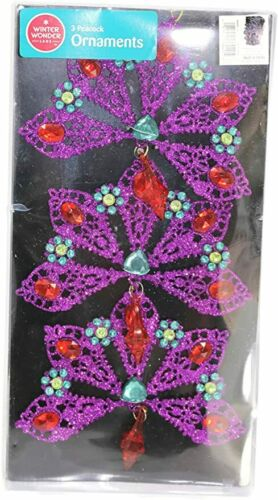 Details about  /3-Pack Purple Flower Glitter Sequined Christmas Ornaments