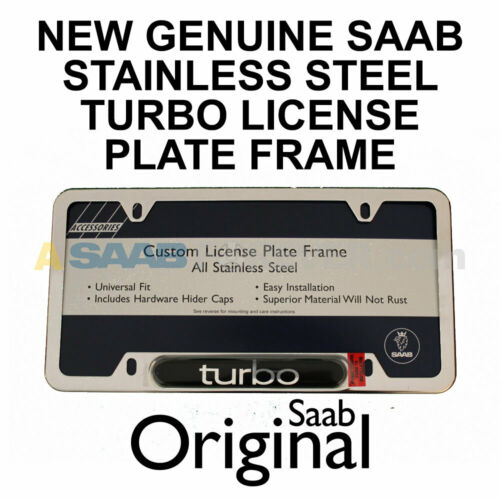 NEW SAAB License Plate Frame SILVER TURBO Text OEM Dealer Accessory Fits SAAB
