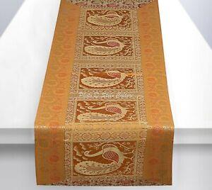 Indian Handmade Silk Table Runner Home Decor Tableware Purple Color Brocade Design