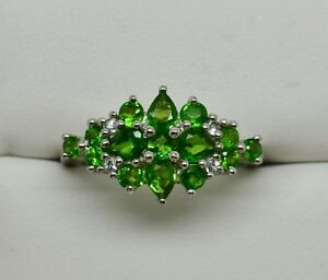 Natural-Chrome-Diopside-Cluster-Ring-925-Sterling-Silver-NEW-397