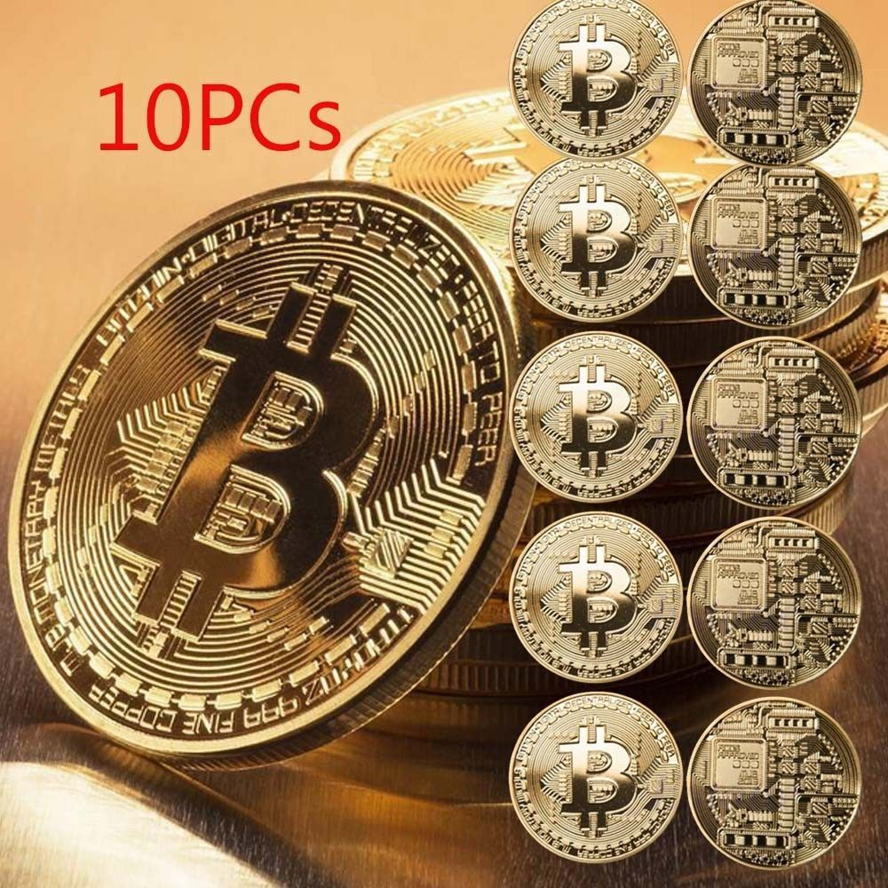 10Pcs Gold Bitcoin Commemorative Collectors Coin Bit Coin is Gold Plated Coin 1