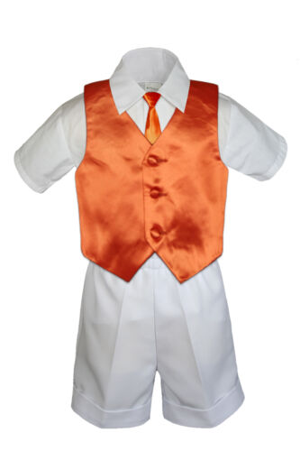 4pc Boys Toddler Formal Baby White Shorts Color Vest and Clip on Necktie S-4T