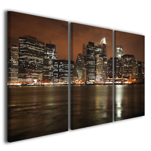 Quadri-moderni-skyline-Manhattan-at-night-arte-stampa-su-tela-canvas-quality