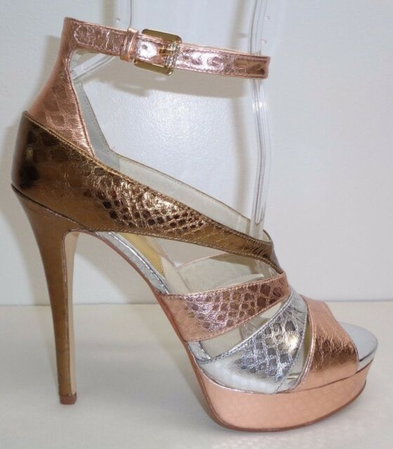 eb23d5881061 Michael Kors Size 8 M LEIGHTON ANKLE STRAP Rose Gold Sandals New Womens  Shoes