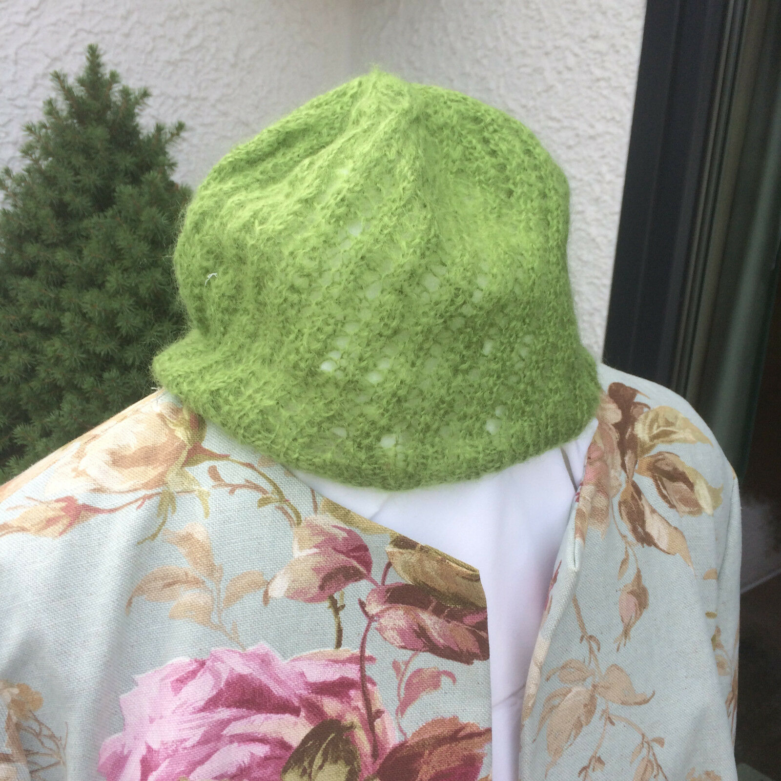 Hat Knitted One Size, Green Mohair
