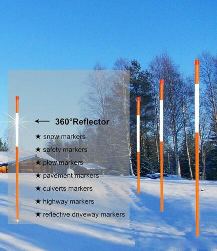 HGmart Driveway Reflective Markers 48-Inch 25-Pack 5//16-Inch Dia Solid Snow Pole
