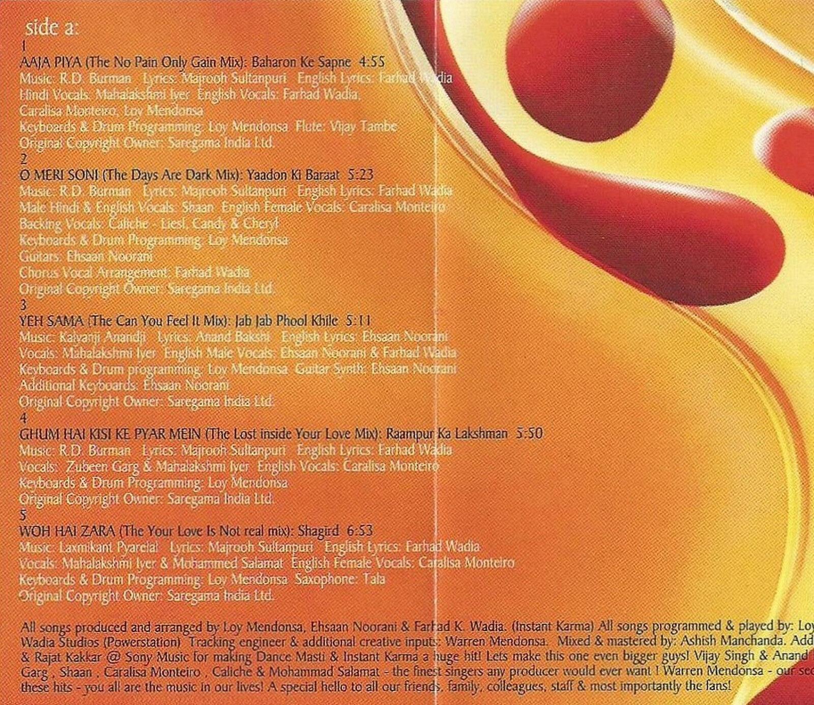 Instant Karma Dance Masti Again Cassette Sony Music Bollywood