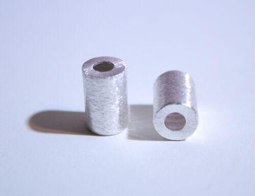 edelsteine24     2x Kupfer Zwischenteil versilbert Walze 15x10mm gebürstet Z-1