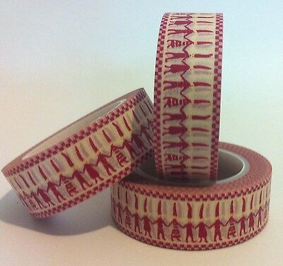 WASHI TAPE LITTLE RED PEOPLE 15MM WIDE X 10 MTR ROLL SCRAP PLAN CRAFT WRAP